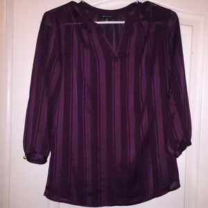 Tops - Plum Purple Sheer Striped Blouse with Gold Buttons